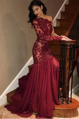 Stunning Tulle Lace One-Shoulder Burgundy Prom Dress Sexy One Sleeve See-Through Ruffles Party Dresses_1