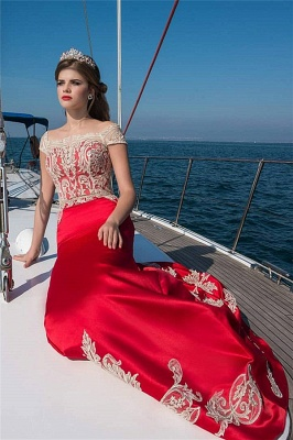 Cap-Sleeves Lace Red Long Prom Dress Square-Neckline Appliques Formal Dresses Online_1