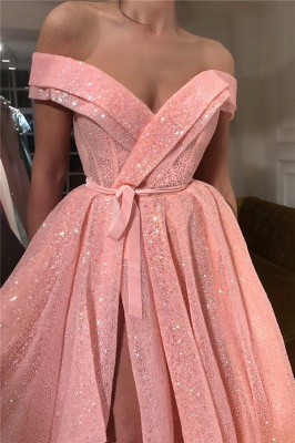 Glamorous Off-the-Shoulder Sleeveless Prom Dress Sequins Sweetheart Front Slit Party Dresses On Sale_2