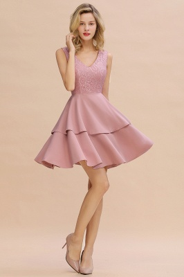 Chic V-Neck Sleeveless Ruffles Short Prom Dress V-Back Knee Length Formal Dresses Online_13