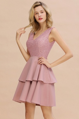 Chic V-Neck Sleeveless Ruffles Short Prom Dress V-Back Knee Length Formal Dresses Online_16