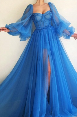 Sexy Long Sleeves Sweetheart Front Slit Prom Dress See Through Bodice Blue Party Dresses Online_1
