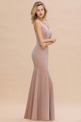 Chic Deep V-Neck Sleeveless Pink Prom Dress Glittery Appliques Mermaid Evening Dresses On Sale_15