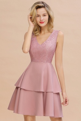 Chic V-Neck Sleeveless Ruffles Short Prom Dress V-Back Knee Length Formal Dresses Online_18