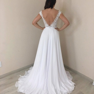 Stylish Off-the-Shoulder A-line Wedding Dresses Mermaid Appliques Cap Sleeves Bridal Gowns with Ruffles_2