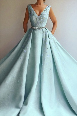Glamorous Sequins V-Neck Pearls Prom Dress Sleeveless Flowers Party Dresses with Beading Sash_1