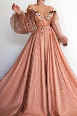 Gorgeous Tulle Beading V-Neck Long Prom Dress Off-the-Shoulder Long Sleeves Evening Dresses On Sale_1