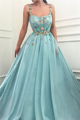 Simple A-Line Spaghetti Straps Ruffles Prom Dress Sleeveless Beading Formal Party Dresses with Flowers_1