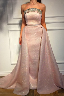 Stunning Strapless Ruffles Pink Sequins Prom Dress Sleeveless Beading Long Evening Dresses On Sale_1