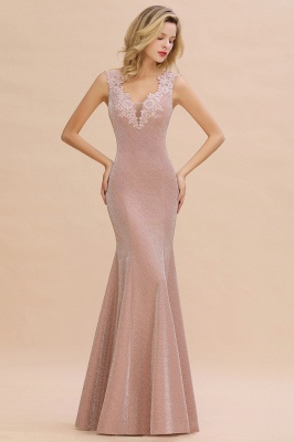Chic Deep V-Neck Sleeveless Pink Prom Dress Glittery Appliques Mermaid Evening Dresses On Sale_1