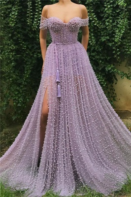 Fantastic Tulle Off-the-Shoulder Pink Prom Dress Sweetheart Front Slit Party Dresses with Pearls_1