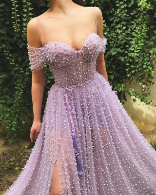 Fantastic Tulle Off-the-Shoulder Pink Prom Dress Sweetheart Front Slit Party Dresses with Pearls_2