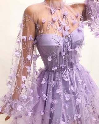 Fantastic Tulle High-Neck Long Sleeves Prom Dress Sexy Front Slit Appliques Evening Dresses with Flowers_2