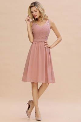 Fantastic A-Line V-Neck Knee Length Dusty Rose Prom Dress Chiffon Short Party Dresses with Pleats Online_7