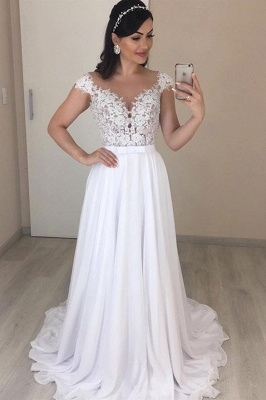 Stylish Off-the-Shoulder A-line Wedding Dresses Mermaid Appliques Cap Sleeves Bridal Gowns with Ruffles