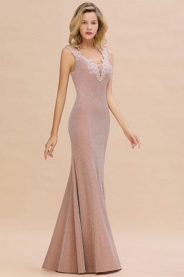 Chic Deep V-Neck Sleeveless Pink Prom Dress Glittery Appliques Mermaid Evening Dresses On Sale_13