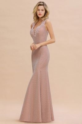 Chic Deep V-Neck Sleeveless Pink Prom Dress Glittery Appliques Mermaid Evening Dresses On Sale_14