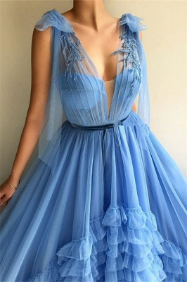 Modest Tulle Deep V-Neck Sleeveless Prom Dress Blue Layers Long Formal Party Dresses with Sash_2