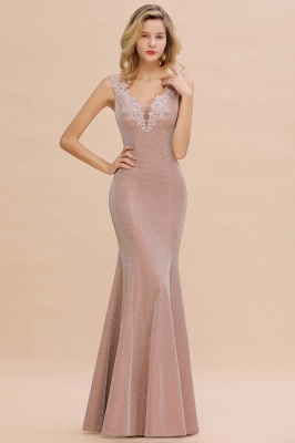Chic Deep V-Neck Sleeveless Pink Prom Dress Glittery Appliques Mermaid Evening Dresses On Sale_11