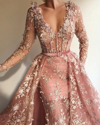 Fantastic Mermaid Tulle V-Neck Pink Prom Dress See Through Long Sleeves Party Dresses with Appliques_2