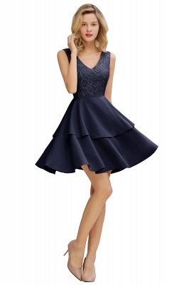 Chic V-Neck Sleeveless Ruffles Short Prom Dress V-Back Knee Length Formal Dresses Online_3