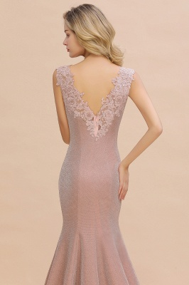 Chic Deep V-Neck Sleeveless Pink Prom Dress Glittery Appliques Mermaid Evening Dresses On Sale_9
