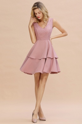 Chic V-Neck Sleeveless Ruffles Short Prom Dress V-Back Knee Length Formal Dresses Online_15