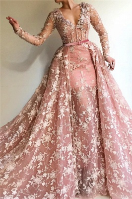 Fantastic Mermaid Tulle V-Neck Pink Prom Dress See Through Long Sleeves Party Dresses with Appliques_1