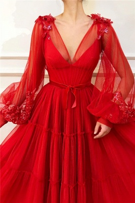 Fantastic Tulle V-Neck Lace Red Prom Dress Long Sleeves Appliques Beading Long Party Dresses Online_2
