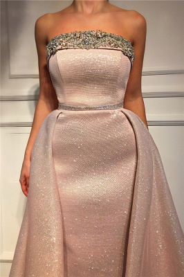 Stunning Strapless Ruffles Pink Sequins Prom Dress Sleeveless Beading Long Evening Dresses On Sale_2