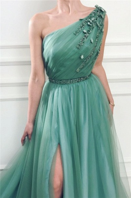 Sexy One-Shoulder Green Tulle Prom Dress Front Slit Evening Dresses with Beading Sash_2
