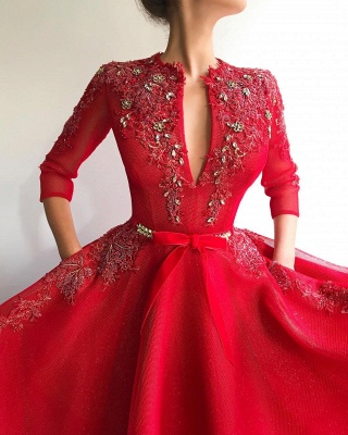 Exquisite Sequins Tulle V-Neck 3/4 Sleeves Prom Dress Jewel Appliques Long Red Formal Party Dresses Online_2