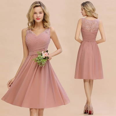 Fantastic A-Line V-Neck Knee Length Dusty Rose Prom Dress Chiffon Short Party Dresses with Pleats Online_14