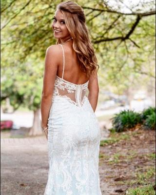 Stunning Column Long Wedding Dresses Stilysh Spaghetti Straps V-Neck Bridal Gowns On Sale_2