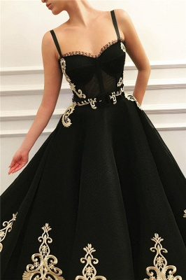 Gorgeous Straps Sweetheart Black Tulle Prom Dress Sleeveless Champagne Appliques Evening Dresses_2