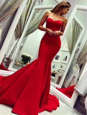 Strapless Sweetheart Red Prom Dress Mermaid Sleeveless Evening Dresses On Sale_1
