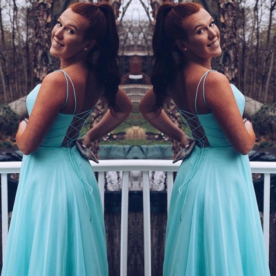 Exquisite Spaghetti Straps Criss-Cross Straps Prom Dress A-Line Plain Cyan Chiffon Formal Party Gowns_2