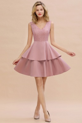 Chic V-Neck Sleeveless Ruffles Short Prom Dress V-Back Knee Length Formal Dresses Online_1