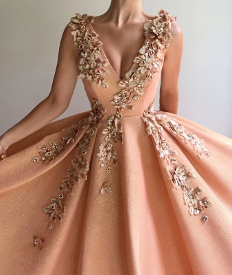 Modest Sequins V-Neck Lace Ruffles Prom Dress Sleeveless Appliques Formal Dresses On Sale_2