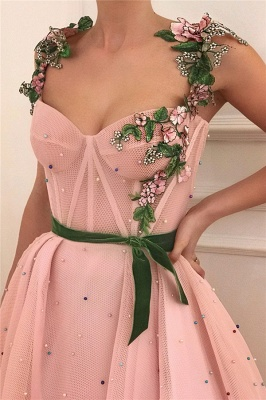Gorgeous Pink Tulle Burgundy Sash Prom Dress See Through Bodice Sweetheart Formal Dresses with Pearls_2