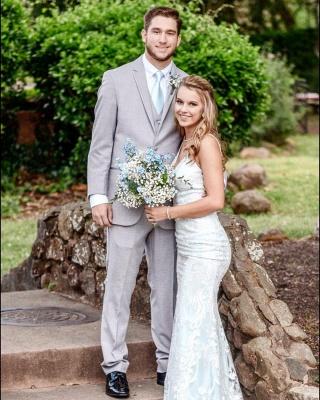Stunning Column Long Wedding Dresses Stilysh Spaghetti Straps V-Neck Bridal Gowns On Sale_3