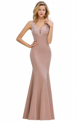 Chic Deep V-Neck Sleeveless Pink Prom Dress Glittery Appliques Mermaid Evening Dresses On Sale_12