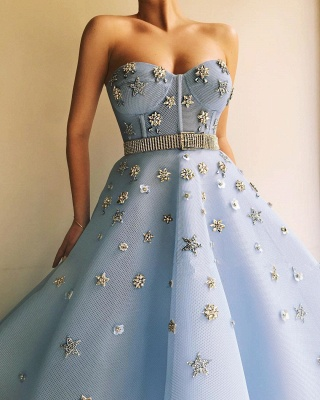 Gorgeous Strapless Sweetheart Beading Prom Dress Blue Tulle Flowers Party Dresses with Beadning Sash_3