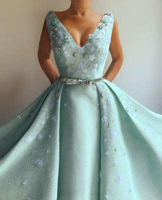 Glamorous Sequins V-Neck Pearls Prom Dress Sleeveless Flowers Party Dresses with Beading Sash_2