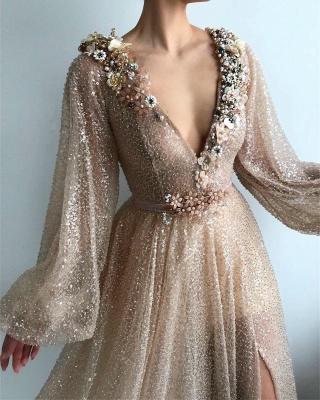 Chic V-Neck Long Sleeves Flowers Prom Dress Stunning Sequins Front Slit Evening Dresses Online_2