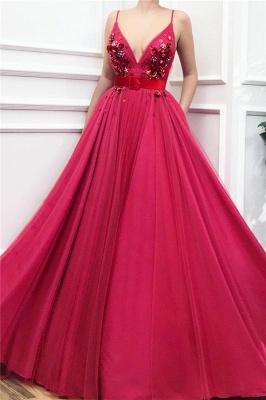 Affordable Spaghetti Straps Ruffle Burgundy Prom Dress Tulle V-Neck Flower Beading Formal Dresses with Sash_1