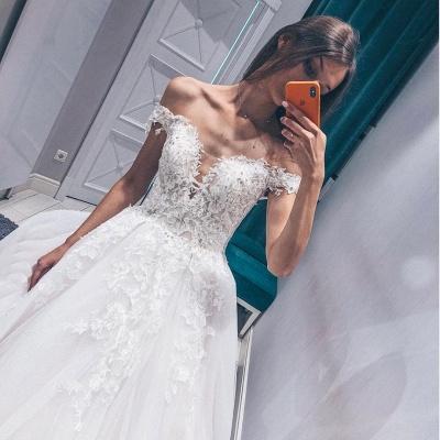 Glamorous Fantastic V Neck Lace Long Wedding Dresses Off the Shoulder White Bridal Gowns On Sale_2