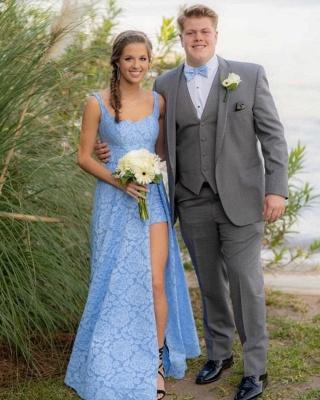 Modest A-Line Straps Lace Blue Prom Dress Sleeveless Front Slit Appliques Party Dresses_2