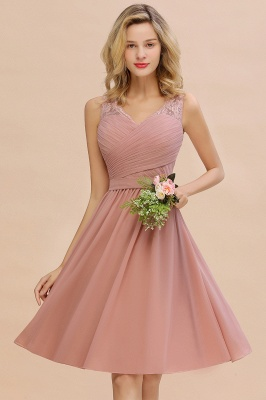 Fantastic A-Line V-Neck Knee Length Dusty Rose Prom Dress Chiffon Short Party Dresses with Pleats Online_12