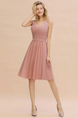 Fantastic A-Line V-Neck Knee Length Dusty Rose Prom Dress Chiffon Short Party Dresses with Pleats Online_8